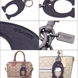 "Coach Accessories - SOLD! COACH XL Black Leather Key RIng Giant ""C"""